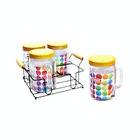 Nakami 4 Pcs Glass Canister 1200ml Kuning