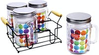 Nakami 4 Pcs Glass Canister 1200ml Metalik