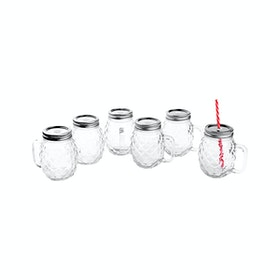 Nakami 6 Pcs 680cc Glass Jar With Straw Metalik