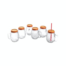 Nakami 6 Pcs 680cc Glass Jar With Straw Oranye