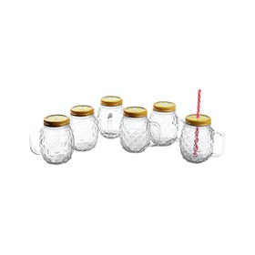 Nakami 6 Pcs 680cc Glass Jar With Straw Emas