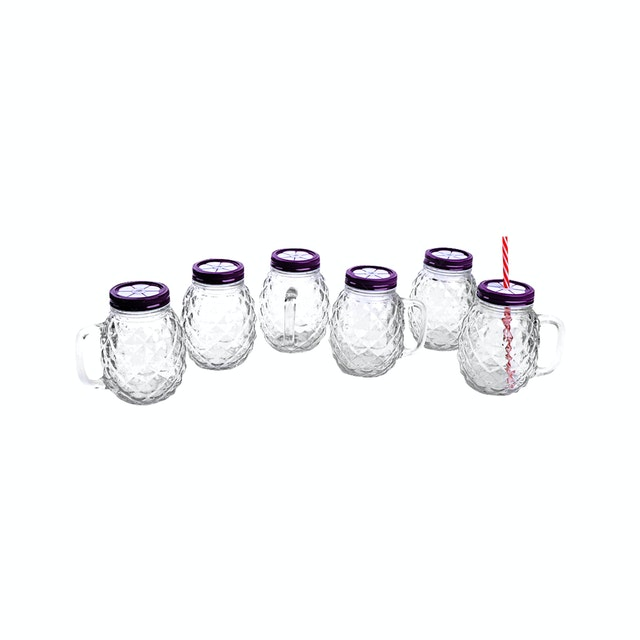 Nakami 6 Pcs 680cc Glass Jar With Straw Ungu