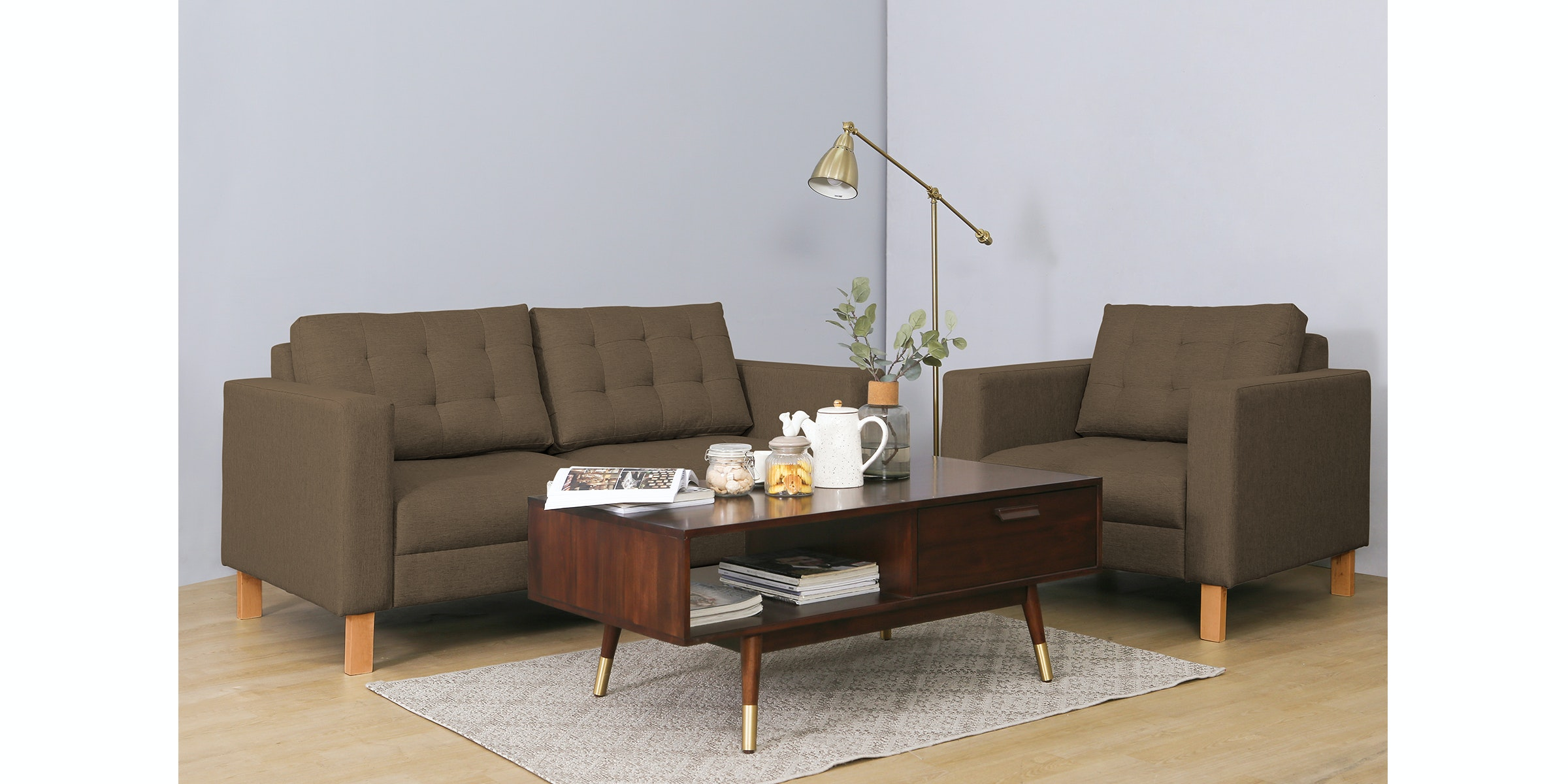 Maesta Felix Sofa Set Cokelat Wood