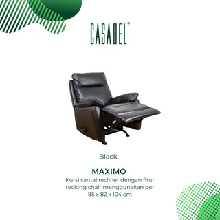 CASABEL Maximo Sofa Recliner 1 Seater Black