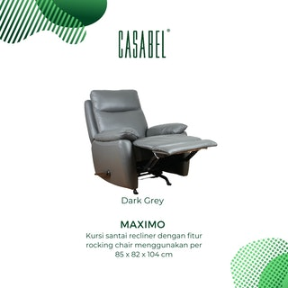 CASABEL Maximo Sofa Recliner 1 Seater Dark Grey