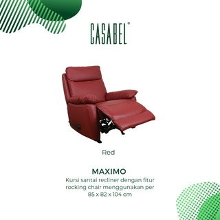 CASABEL Maximo Sofa Recliner 1 Seater Red
