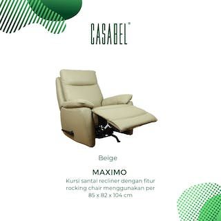 CASABEL Maximo Sofa Recliner 1 Seater Beige