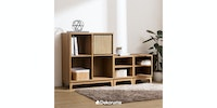 Nara Set Storage 2 (1 Shelving Unit 2x2 & 2 Side Table)