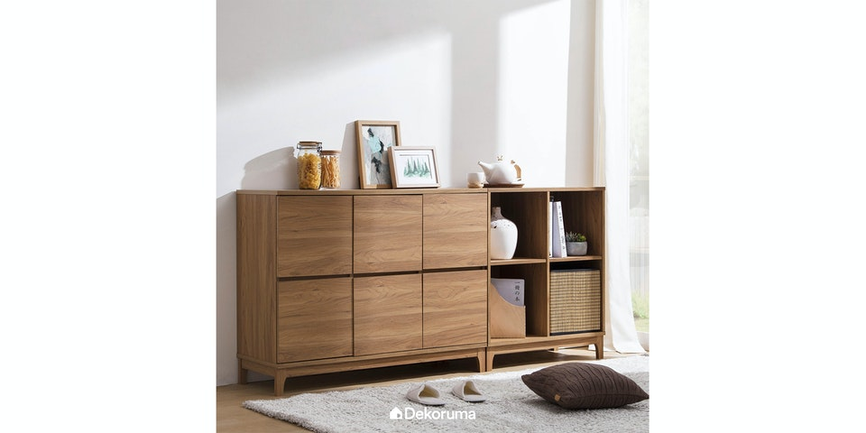 Nara Set Storage 4 (1 Shelving Unit 2x2 & 1 Credenza)