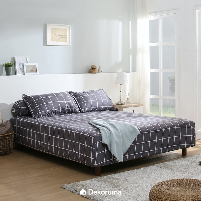 Linori Set Sprei Sarung Bantal Super Single Motif Kiyo Grey, Ukuran 120x200x40 cm