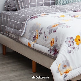Linori Bed Cover Double Motif Hima / Kiyo Grey, Ukuran 230x230 cm