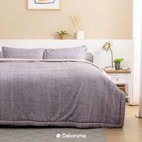Linori Bed Cover Single Motif Kawa Grey / Cream, Ukuran 140x230 cm