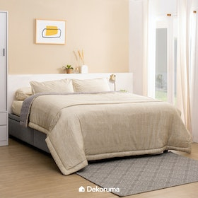 Linori Bed Cover Double Motif Kawa Grey / Cream, Ukuran 230x230 cm