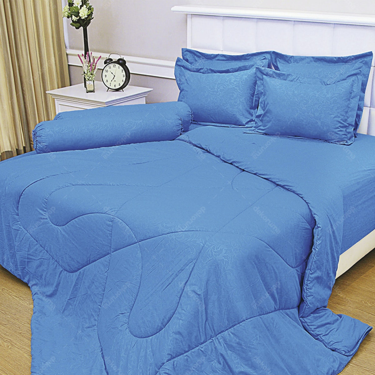 Vallery Quincy Bed Cover Blue BC 245x225cm
