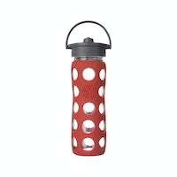 Life Factory Life Factory 16oz Glass Bottle 475ml Straw Cap - Red