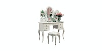 Olive House Meja Rias Queen Anne Console Set - Putih