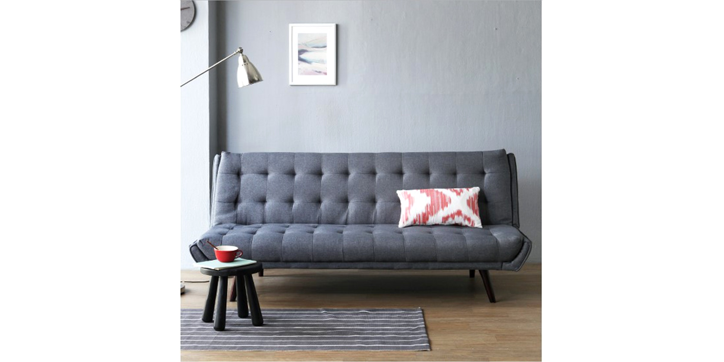 Olive House Sofa Bed Fabric Zedd - Grey