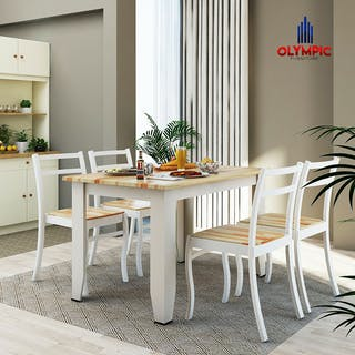 Olympic Olympic Dinning Table / Meja Makan Kayu Include 4 Kursi / DTM ALMA