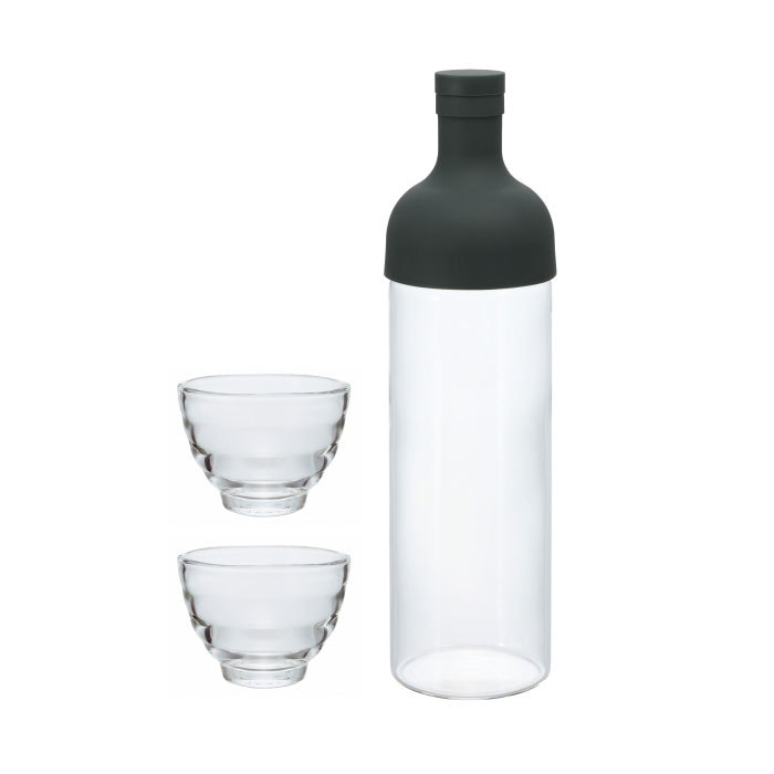 Hario Filter in Bottle & Tea Glass Set Black FIHU-2012B