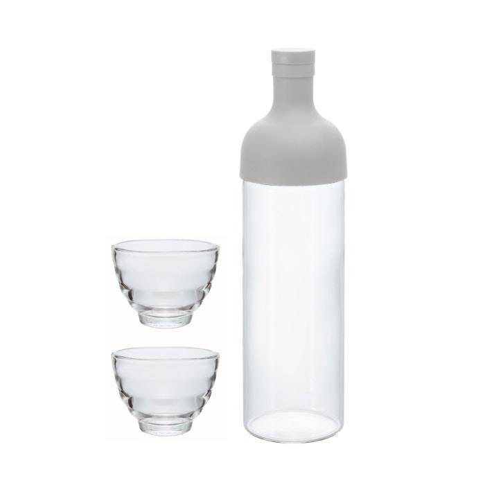 Hario Filter in Bottle & Tea Glass Set White FIHU-2012PGR