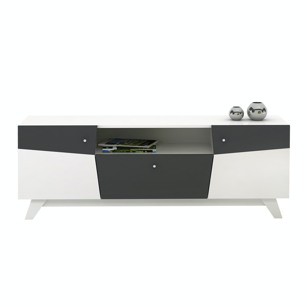 Pro Design Vector Sideboard - White Glossy - Grey Glossy