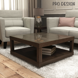 Pro Design Petra Meja Tamu Dengan Kaca - Brown Walnut