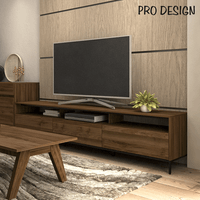 Pro Design Petra Rak TV Dengan 3 Rak 3 laci - Brown Walnut