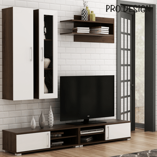Pro Design Mocca Rak TV Dinding - Brown Walnut - White Glossy