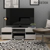 Pro Design Kenny Rak TV / Meja TV Dengan 2 Rak 2 laci - White GPO - Black