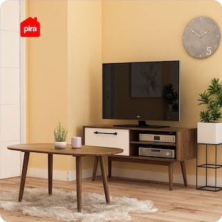 Bavarian Kabinet Tv Brown Walnut - White (Odmund Tv120)