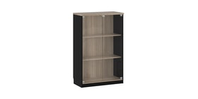 Pro Design Gunter Kabinet Kantor Pintu Kaca - Light Oak - Black