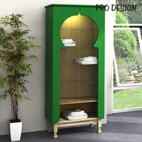 Pro Design Maqdis Lemari Kabinet Scraf / Syal - Forest Green Line - Gold Hairline - Oak