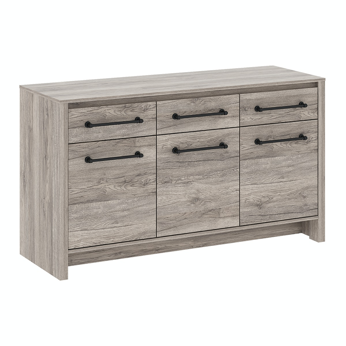 Pro Design Romanov Sideboard 3 Pintu 3 Laci - Sanremo Dark - Beige Leather