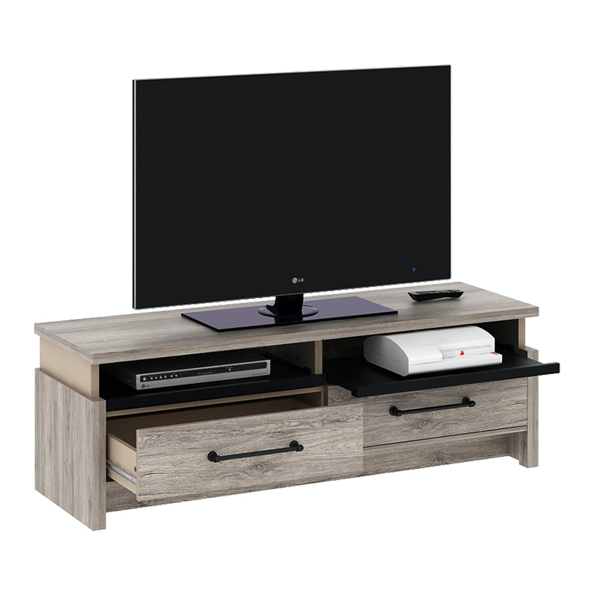 Pro Design Romanov Rak TV 2 Laci - Sanremo Dark - Beige Leather - Black