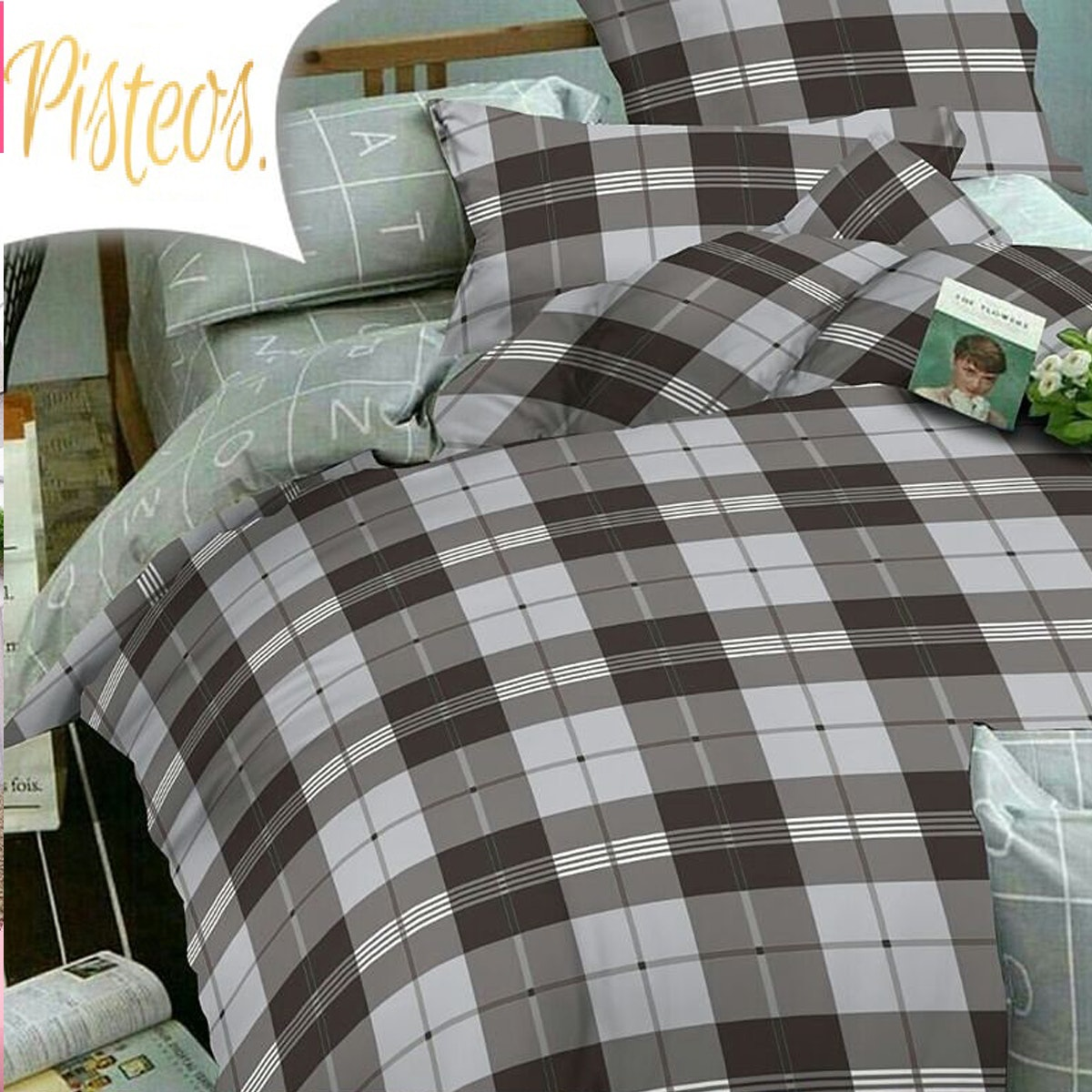 Pisteos Set Sprei Toronto  Brown 180x200x30