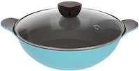 Neoflam AMIE Two Handle Wok 28cm Glass Lid Sky Blue