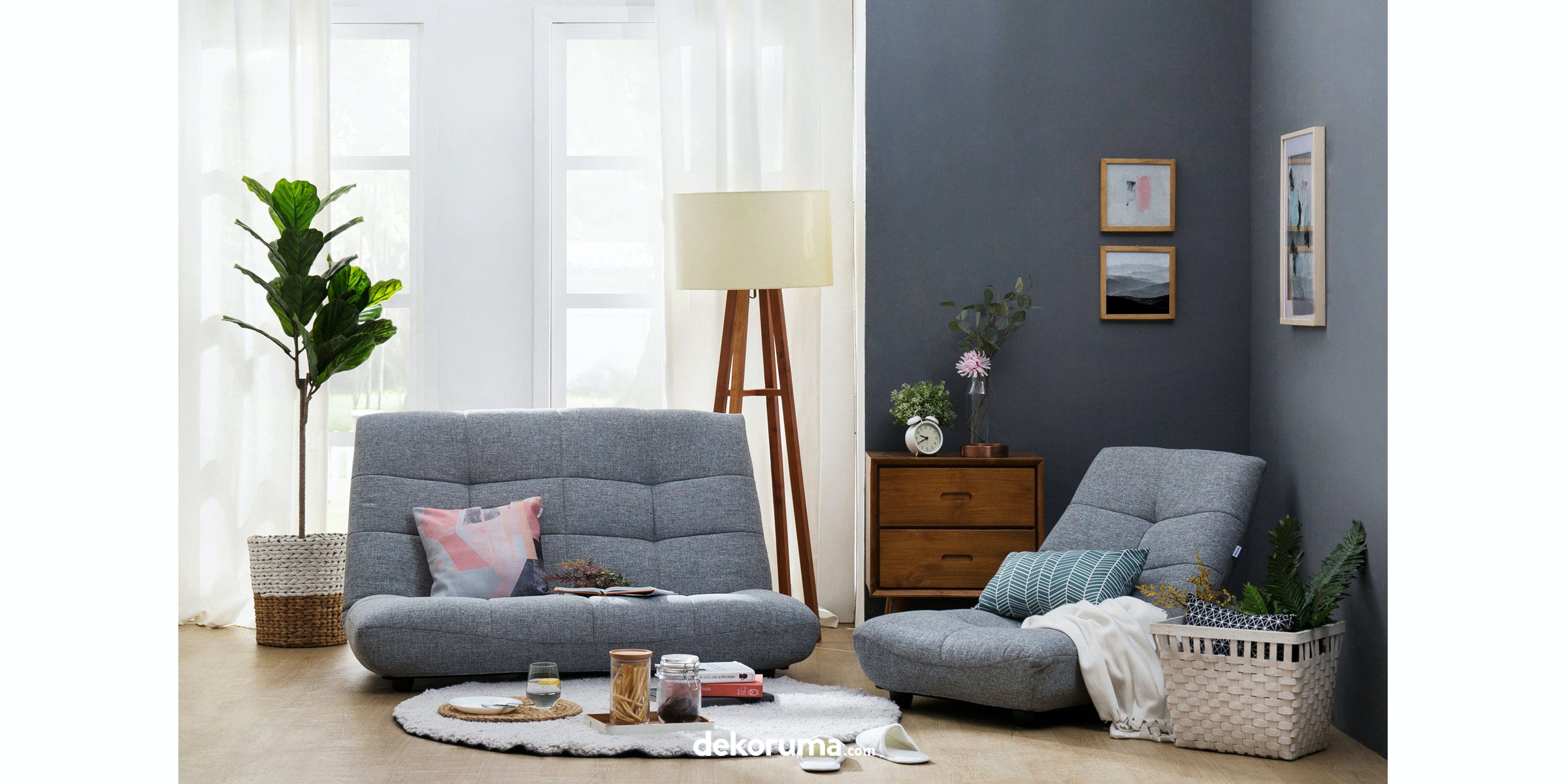 Atease By Inoac Sofa Prim Single Grey