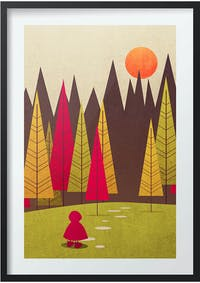 Poster House Poster Little Red Riding Hood + Frame Kayu 30x40cm Dengan Matboard