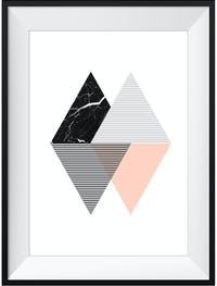 Poster House Poster Graphic Triangle 2 30x45cm + Premium Frame Kayu 40x55cm Dengan Matboard