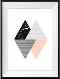 Poster House Poster Graphic Triangle 2 20x30cm + Frame Kayu 30x40cm Dengan Matboard