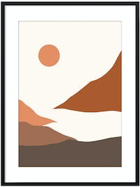 Poster House Poster Abstract Landscape 6 30x45cm + Premium Frame Kayu 40x55cm (Hitam) Dengan Matboard