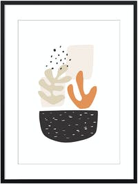Poster House Poster Two Plants In A Pot 30x45cm + Premium Frame Kayu 40x55cm (Hitam) Dengan Matboard