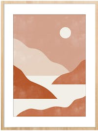 Poster House Poster Abstract Landscape VIII 30x45cm + Premium Frame Kayu 40x55cm (Cokelat) Dengan Matboard