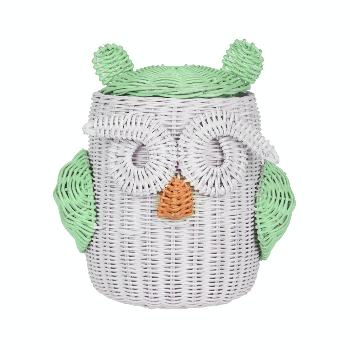 Pouffie Rottan Owl Big Eyes Green