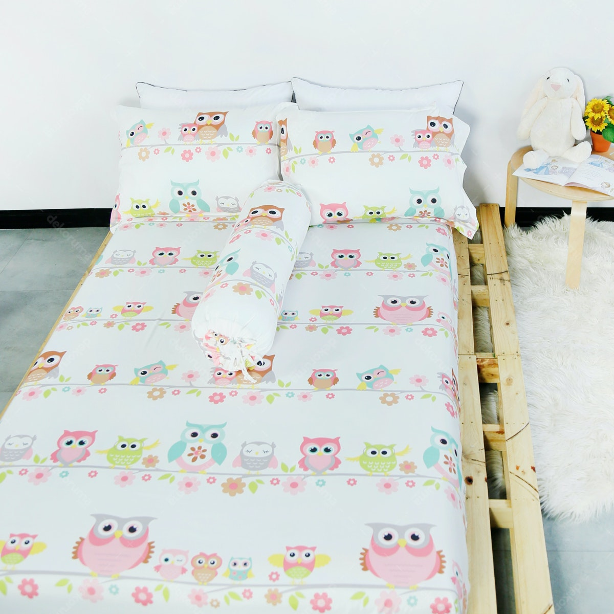 Pillow People Bed Sheet Set Baby Owl 180x200x35 Print