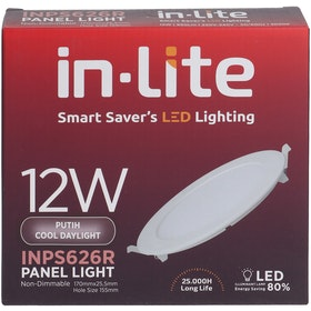 In Lite Lampu Panel Eco Downlight LED Round 12 Watt  6500K Putih