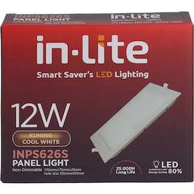 In Lite Lampu Panel Eco Downlight LED Square 12 Watt 4000K Putih Kekuningan