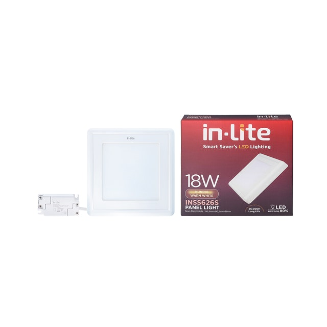 In Lite Lampu Panel Outbow / Downlight LED Square 18 Watt 3000K Kuning
