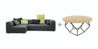 Ridente Set Ruangan Keluarga E (Bigfoot Sofa Set Abu+Freya Coffee Table)
