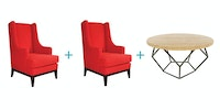 Ridente Set Ruangan Keluarga K (2 Unit Lori Arm Chair RC 22+Freya Coffee Table)